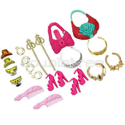 1 Set Plastic Accessories for Barbie Dolls Jewelry Necklace Earrings Crown Shoes