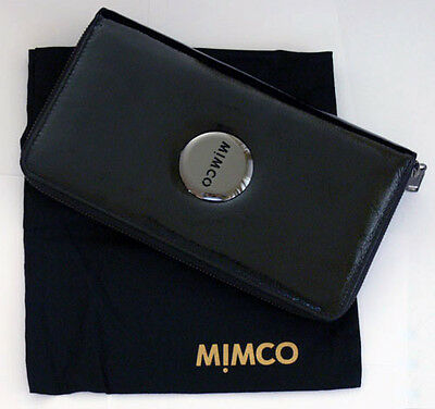 FREE POST Mimco MIM Travel Wallet Purse Patent Leather Black RRP $199 NEW