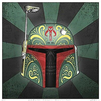 "2.5"" Star Wars Green Boba Fett Sugar skull vinyl bumper STICKER. Bloodlines Jedi"