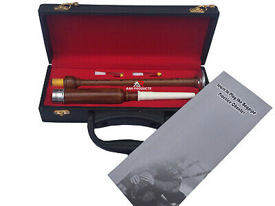 New Rosewood Practice Chanter with Metal Ferrule and Engraved & 2 Reeds