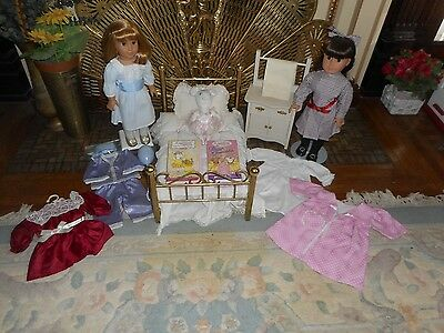 Nellie & Samantha A/g Dolls Pair With Brass Bed, Pj's,angelina Balerina & More