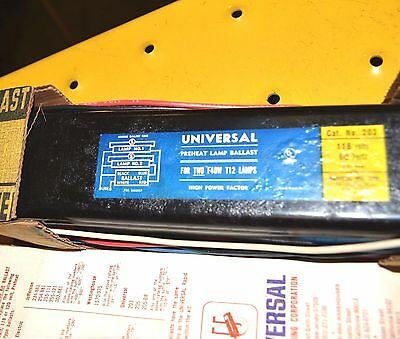 NEW UNIVERSAL 203 BALLAST 2-40W Fluorescent Lamp 120V Preheat NOS New Old Stock
