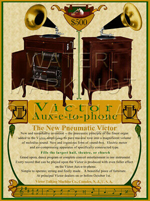 """18"""" X 24"""" Reproduced Victor Auxetophone Advertisement Canvas Banner"""