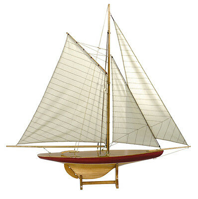 "1895 Defender Pond Yacht 37"" Sail Wooden Model Sailboat Built New"