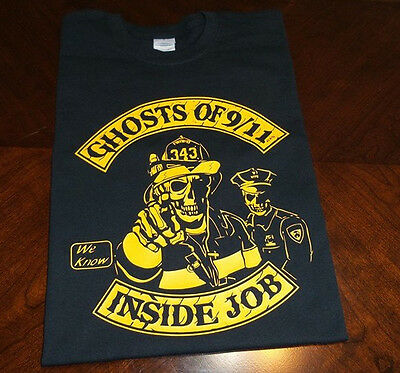 Ghost of 911 INSIDE JOB T-shirt Sept 11 NYPD NYFD Twin Towers orange print