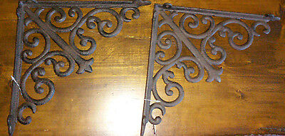 Set Of 2-Large Heavy Duty Brown Cast Iron Brackets With Scrolls-10""
