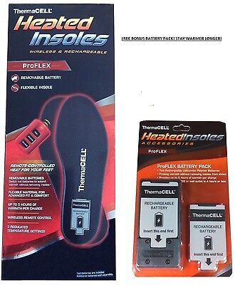ThermaCELL ProFLEX Heated Insoles Unisex L LARGE + FREE Battery Pack