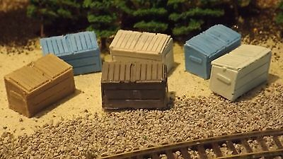 N-Scale 6 Unfinished 6yd Garbage Dumpsters 1:160 Model Train Detail Accessories