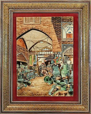 Vintage Middle East Khatam Miniature Painting of Pottery Bazar Isfahan Market