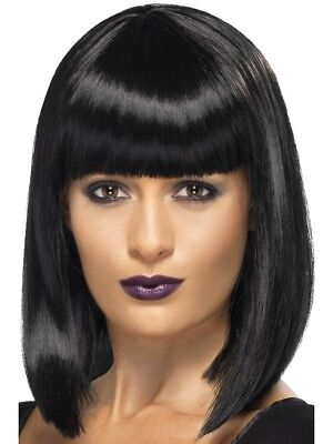 Black R&B Wig Short Bob With Fringe Celebrity Music Star Fancy Dress Accessory