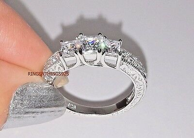 925 Sterling Silver Wedding Anniversary 3 Princess CZ Ring Sizes 5 6 7 8 9 10