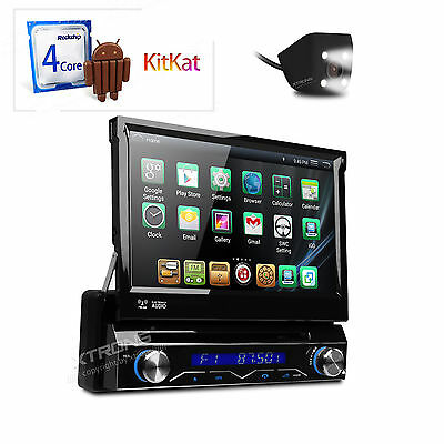"1 DIN Android 4.4 Car Radio PC DVD CD Player WiFi Stereo GPS 7"" Flip Up 16G ROM"