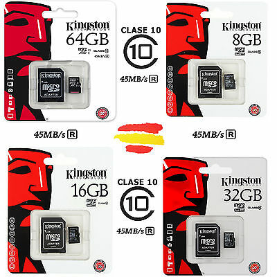 Tarjeta Memoria Kingston Clase 10 Microsd Micro Sd Gb 16 32 64 16Gb 32Gb 64Gb
