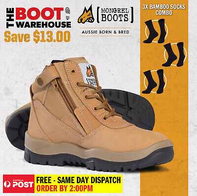 Mongrel 261050 Work Boots. Steel Toe Safety.  Wheat Zip-Side. BAMBOO SOCKS COMBO