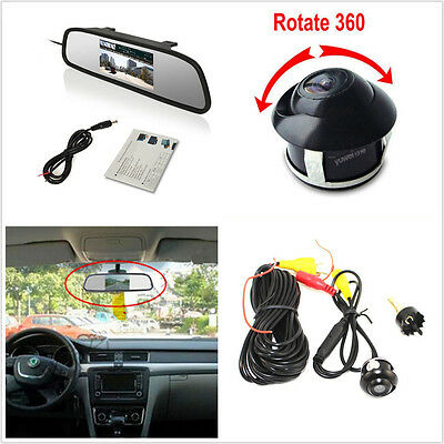 "Rotatable CCD Car Reverse Camera & 4.3"" LCD TFT Rearview Mirror Monitor Tool Kit"