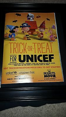The Peanuts Movie Halloween UNICEF Original Promo Poster Ad Framed!