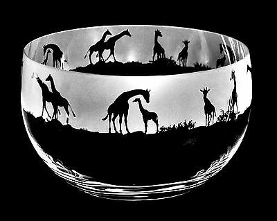 *ANIMAL GIFT*  22cm Boxed CRYSTAL GLASS BOWL with engraved GIRAFFE Frieze