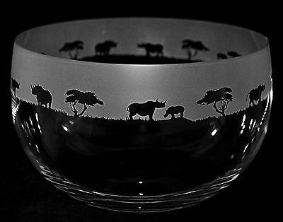 *ANIMAL GIFT*  22cm Boxed CRYSTAL GLASS BOWL with engraved RHINO Frieze
