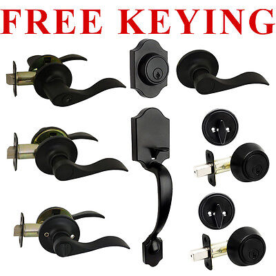 Designers Impressions Kingston Design Matte Black Door Lever Knob Hardware