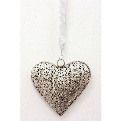 ECP Design Silver 3D Hanging heart complete with hanging ribbon