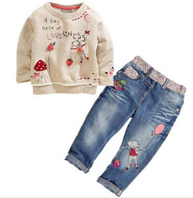 2Pcs Toddler Infant Girls Outfits Long Sleeve tops +Denim pants Kids Clothes Set