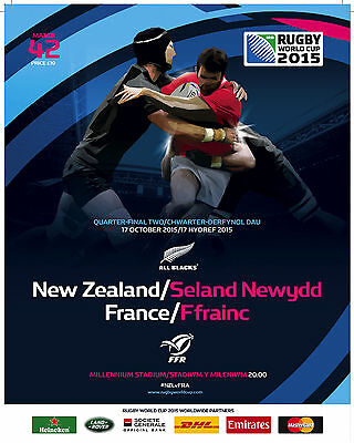 NEW ZEALAND v FRANCE QF2 - RWC 2015 OFFICIAL PROGRAMME 17 Oct, Cardiff Match 42