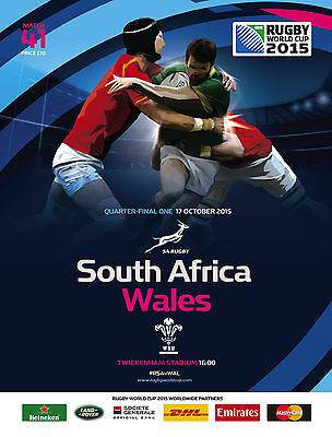 SOUTH AFRICA v WALES QF1 - RWC 2015 OFFICIAL PROGRAMME 17 Oct, Twickenham