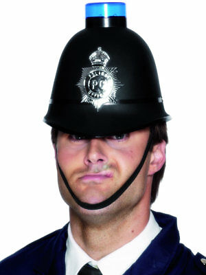 Police Helmet With Siren Adults Cop Bobby Officer  Fancy Dress Accessory