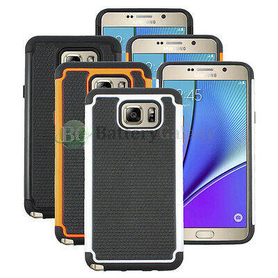 Lot of 3 Black/Orange/White Hybrid Rugged Rubber Case for Samsung Galaxy Note 5