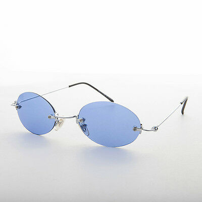 90s Vintage Rimless Oval Blue Colored Lens Sunglasses  - Piper
