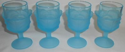 Set (4) LG Wright BLUE CABBAGE LEAF PATTERN Wine Stems