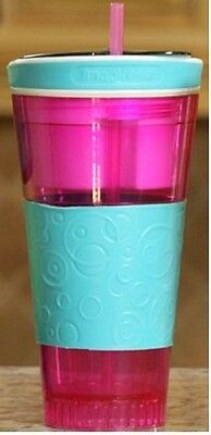 Snackeez Travel Cup Snack Drink in One Container Pink/Blue Idea Village SGCT NEW