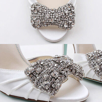 Sexy Clear Rhinestone Crystal Gold Or Silver Bow Sparkle Party Shoe Clips Pair