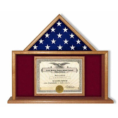 Army Flag And Certificate Display Case Hand Made By Veterans