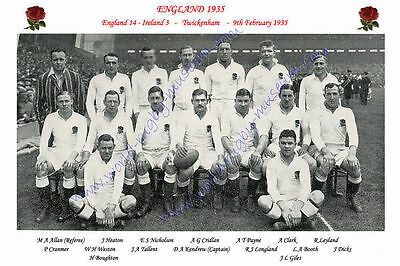 "ENGLAND 1935 (v Ireland) 12"" x 8"" RUGBY TEAM PHOTO PLAYERS NAMED"