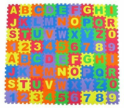 Alphabet Letters & Numbers Educational Foam Puzzle Floor Mat for Kids + 72 NEW