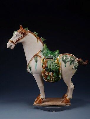 Ancient Chinese Rare Tand Dy White SanCai Pottery Horse