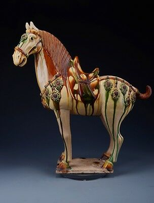 Ancient Chinese Tand Dy White SanCai Pottery Horse