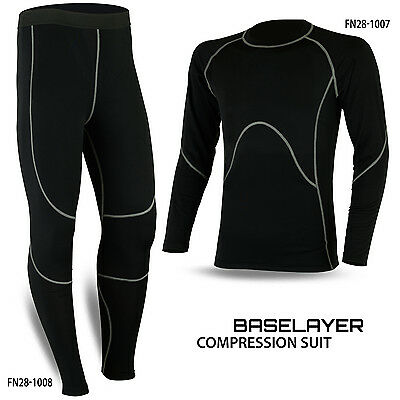 Mens Compression Thermal Base Layer Tights Shirt Under Suit Pant Black