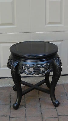 Antique Chinese Wood Lacquered Hand Carved Cabriole Legs Side Table,plant Stand