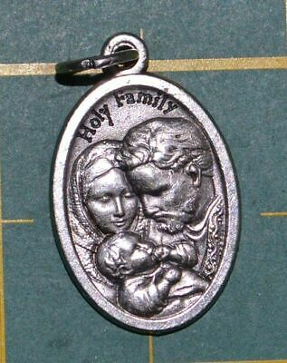 HOLY FAMILY Medal Pendant, SILVER TONE, 22mm X 15mm, MADE IN ITALY