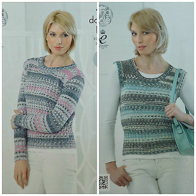 KNITTING PATTERN Ladies EASY KNIT Long & Sleeveless Round Neck Jumper DK 4252