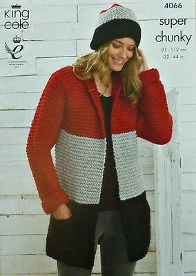 KNITTING PATTERN Ladies Long Sleeve 3 colour Easy Knit Coat Hat SuperChunky 4066