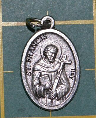 SAINT FRANCIS Medal Pendant, SILVER TONE, 22mm X 15mm, MADE IN ITALY