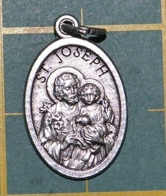 SAINT JOSEPH Medal Pendant, SILVER TONE, 22mm X 15mm, MADE IN ITALY
