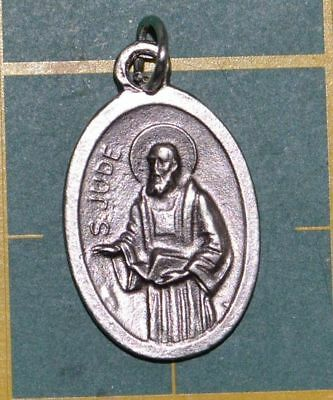 SAINT JUDE Medal Pendant, SILVER TONE, 22mm X 15mm, MADE IN ITALY