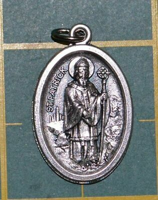 SAINT PATRICK Medal Pendant, SILVER TONE, 22mm X 15mm, MADE IN ITALY