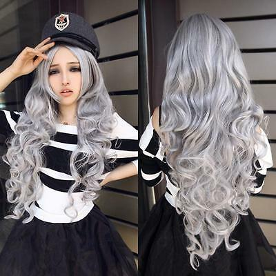 Fashion Women Stone gray Long Curly Wavy Hair Full Cosplay Lolita Party Wig