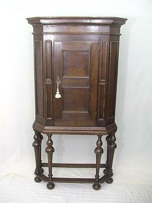 Antique William & Mary Style Oak Cupboard On Stand