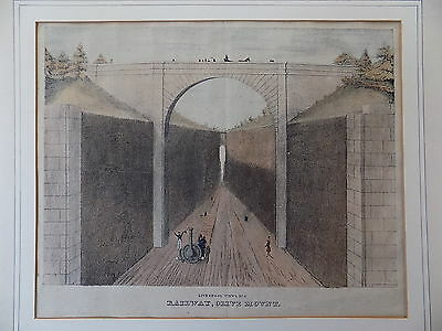 c1830 v. early Railway Engraving Liverpool Olive Mount Old Antique Print SCARCE